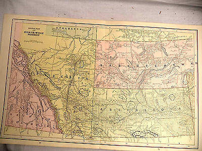 Antique 1891 Color Geo Cram Map Central North West District Assiniboia Alberta +