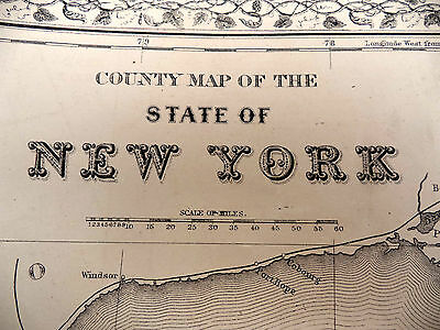 Large Antique Color 1872 County Map Of the State of New York With City Inserts