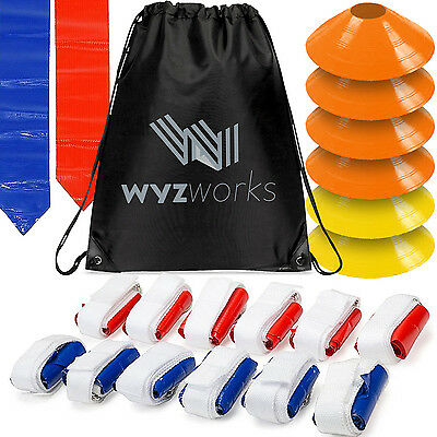 Flag Football Kit for 12 Players - Red and Blue Flags with Cones and Travel Bag