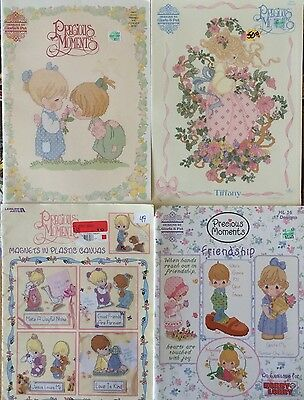 Lot of 4 Vintage Precious Moments Cross Stitch Pattern Books
