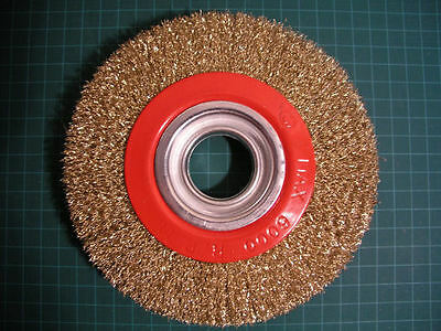 """(L0T of 2) - 6"""" Wire Wheel Brush 150mm Brass Coated Steel Fill bench grinder"""