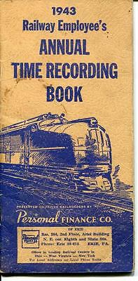 Railway Employees Annual Time Recording Book 1943 Railroad Personal Finance Co.