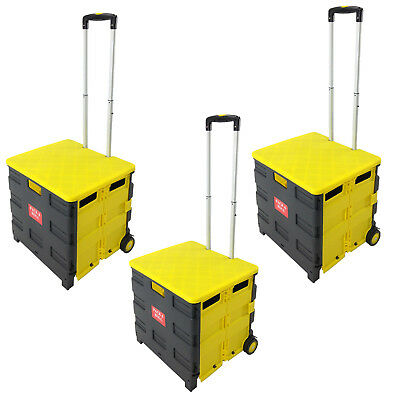 3 - Folding Pack & Roll Portable Cart for Tools, Work, School or Grocery - Black