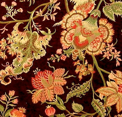 2 3/8 yards Bright Jacobean Chocolate Multi Tapestry Upholstery Drapery Fabric
