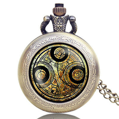 Gift Doctor Who Necklace Cool New Quartz Pocket Watch Small Steampunk White Face