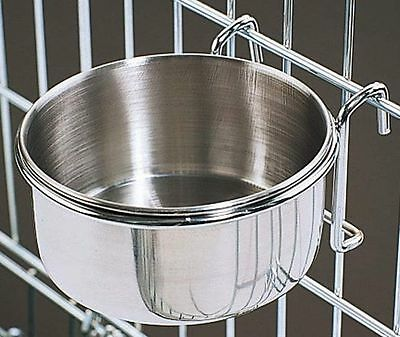 800115 Stainless Steel 20 oz Cage Coop Hook Cup Bird Dog Animal Food Water Bowl