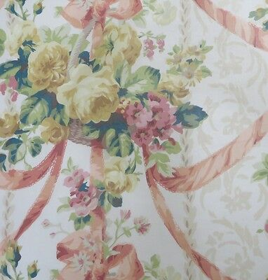 11 yards Phenomenal Feminine Lee Jofa Ribbons+Roses Cotton Handprinted Fabric