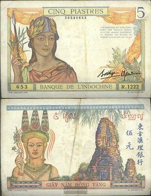 french indochina Pick-number: 55b used (III) 1936 5 Piastres