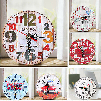 Vintage Wooden Wall Clock Shabby Chic Rustic Office Kitchen Home Antique Decor