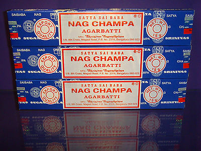 Incense Joss Sticks 3 Packs of 15g Nag Champa Sandalwood Super Hit Genuine Satya