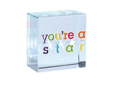 Spaceform Glass Text Token You're A Star Colourful Thank You Gift Present 1680