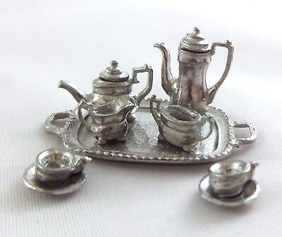 Dolls House 1:24 Scale Miniature Dining Room Accessory Pewter Silver Tea Set