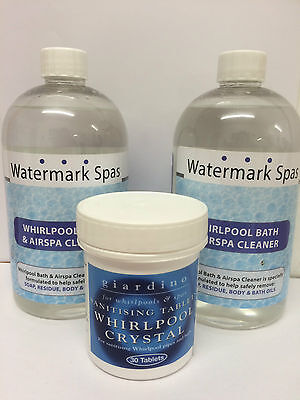 Whirlpool Spa Jacuzzi Bath Cleaning Pack | Sanitising Tablets & Cleaning Fluid