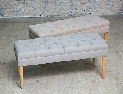 Button Tufted Upholstered Fabric Bench Hallway Bedroom Window Seat Stool