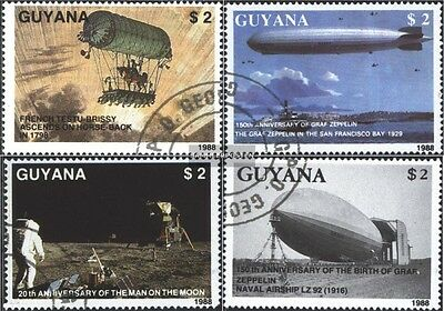 Guyana 2485-2488 (complete issue) used 1989 Zeppelin + 1. Moon