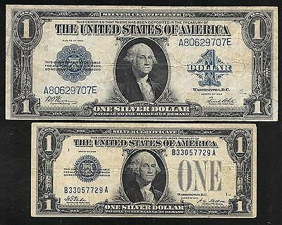 US 1 Dollar Silver Certificates - Transition Pair - 1923 and 1928 - Both FINE