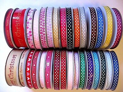 Patterned 10mm 25mm grosgrain ribbon craft sewing scrapbooking lots of colours