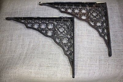 "2 Shelf brackets 7 X 9"" vintage paint old 1880's rustic gothic lattice cast iron"