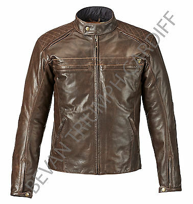 Triumph Restore Brown Leather Motorcycle Jacket Mlhs16502 Size Xl