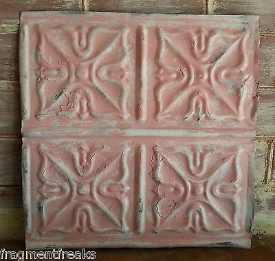 "12"" x 12"" Antique Tin Ceiling Tile Vintage LA21 *SEE OUR SALVAGE VIDEOS Pink"