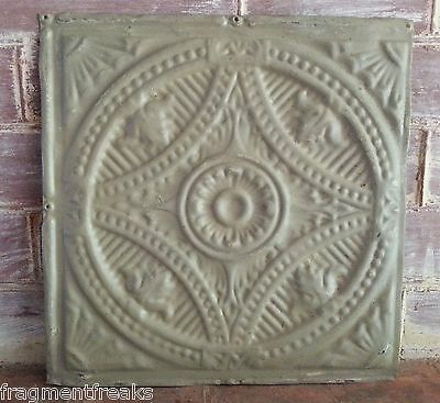 "12"" x 12"" Antique Tin Ceiling Tile Taupe LA7 Metal *SEE OUR SALVAGE VIDEOS*"