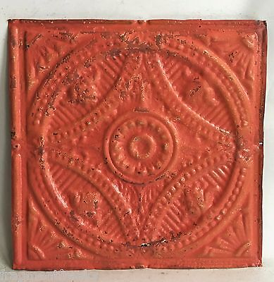 "12"" x 12"" Antique Tin Ceiling Tile  C74a Coral Pink"