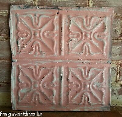 "12"" x 12"" Antique Tin Ceiling Tile Vintage LA20 *SEE OUR SALVAGE VIDEOS Pink"