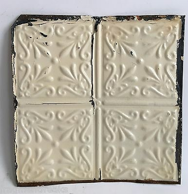 """12"""" x 12"""" Antique Tin Ceiling Tile Metal A3  Ivory *SEE OUR SALVAGE VIDEOS*"""