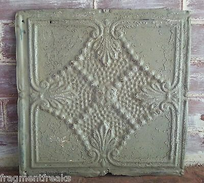 "12"" x 12"" Reclaimed Antique Tin Ceiling Tile Taupe LA9 Metal Anniversary Vintage"