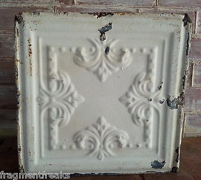 "12"" x 12"" Antique Tin Ceiling Tile  Reclaimed T9 Ivory *SEE OUR SALVAGE VIDEOS*"