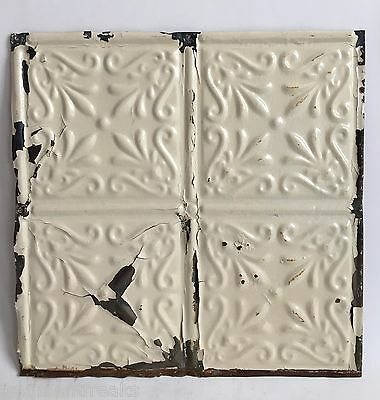 """12"""" x 12"""" Antique Tin Ceiling Tile Metal A10 Ivory *SEE OUR SALVAGE VIDEOS*"""