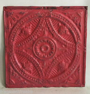 """12"""" x 12"""" Antique Tin Ceiling Tile  C71a Tropical Pink *SEE OUR SALVAGE VIDEOS"""