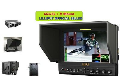 """Lilliput 7"""" 663/S2 1280X800 IPS Peaking Focus SDI HDMI In&out + V mount+Gimbal"""