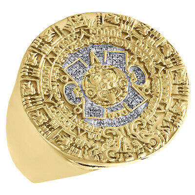 Aztec Calendar Diamond Fashion Pinky Ring Mens .925 Gold Over Silver 0.11 Ct.