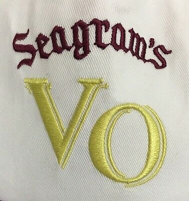 Seagrams VO Whiskey White Burgundy Gold Embroidered Baseball Hat Cap