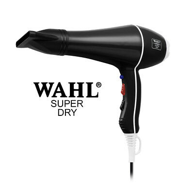 BLACK Wahl Super Dry 2000W Professional Salon Hair Dryer Tourmal Ionic 2 Nozzles