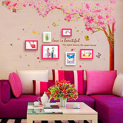 Hot Huge Pink Cherry Blossom Flower Tree Wall Sticker Art Mural Home Decor Decal