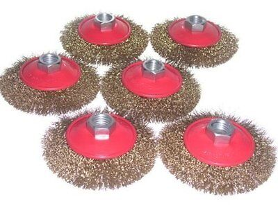"6 x 4"" Brass Coated Steel Crimped Wire Conical Brush 5/8-11nc angle grinder"