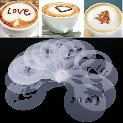 16Pcs/set New Sale Coffee Stencil Mold Duster Spray Tools Art Template