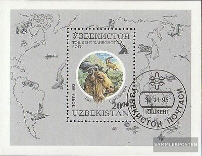 Uzbekistan block10 fine used / cancelled 1995 Zoos Garden