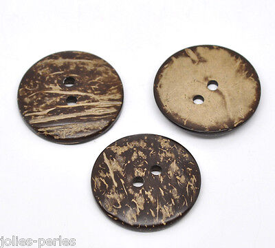 JP 20PCs Brown Coconut Shell 2 Holes Sewing Buttons DIY 38mm