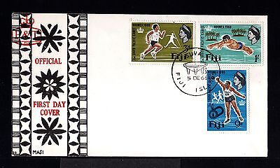 10728-FIJI ISLANDS-FIRST DAY COVER SUVA.1966.BRITISH.SPORTS games NOUMEA.