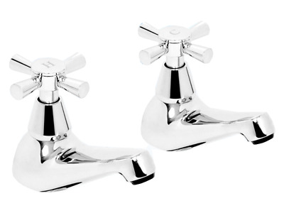 Bath Taps Chrome Modern Washer Hot And Cold X Top Tap Set 1 Pair Deva Milan102
