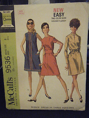 McCall's 9536 Misses Dress in 3 Versions Pattern - Size 8 Bust 31 1/2