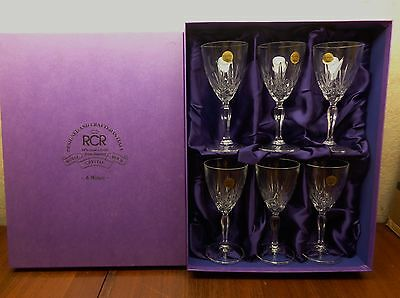 Royal Crystal Rock RCR Overture Pattern 7 Cut Crystal  Water Wine Goblets 7 7/8""