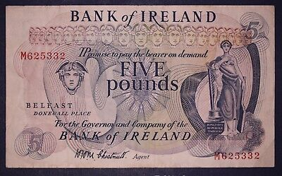 "1967 Bank of Ireland, Five pound £5 note Prefix ""M"" Chestnutt [lot6132]"