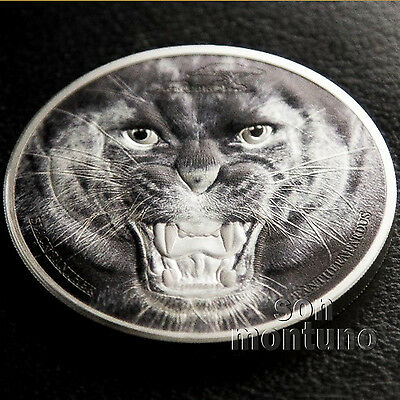 "2016 Tanzania BLACK PANTHER ""Rare Wildlife"" 2 oz Silver Coin NEW UNIQUE COLORING"