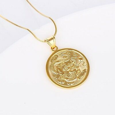 "Men's Dragon Pendant 18k Yellow Gold Filled Fashion Necklace 18""Link"