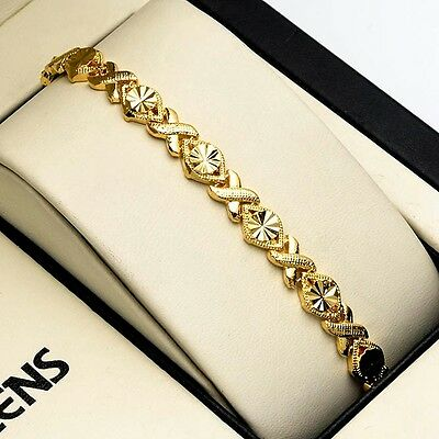 "Hot 18K Yellow Gold Filled Women Bracelet 7.3"" Chain Charms Link Fashion Jewelry"