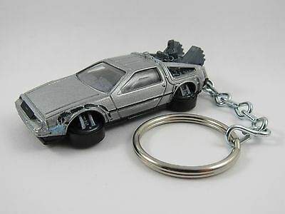 Back To The Future 1981 DeLorean HOVER MODE Time Machine Silver Keyring Keychain